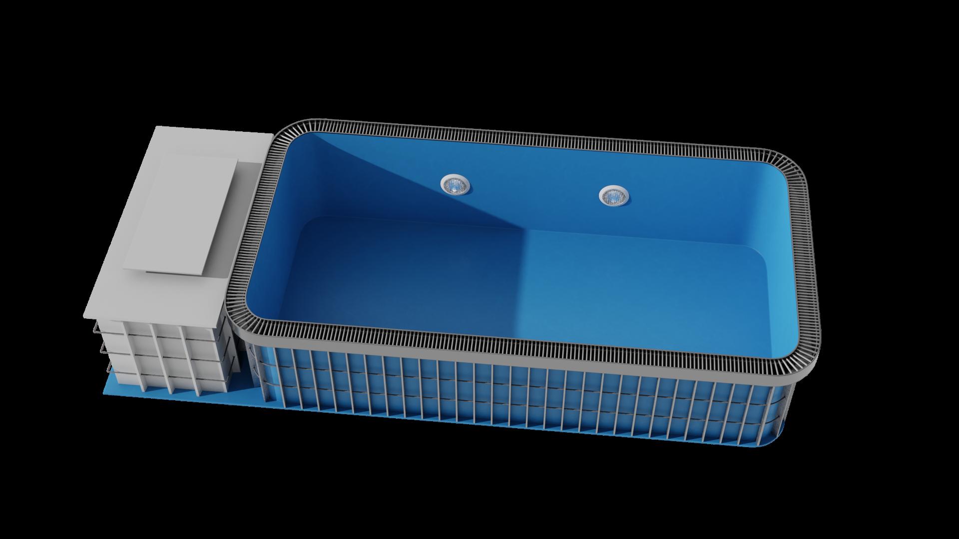 nákres zaoblený bazén s přelivem deluxe